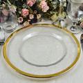Venta al por mayor con borde dorado en relieve Clear Glass placa del cargador para la boda