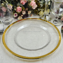 Wholesale Gold Rimmed Embossed Clear Glass Charger Plate For Wedding