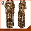 11305F08 Women Long Design Floral and Leopard Cotton Kaftan Dress