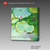 Chinese lotus hand made oil painting on canvas