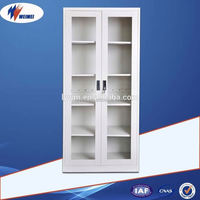 Two tiers simple high quality office glass sliding door metal cabinet