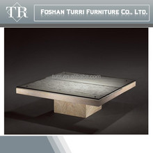 luxury furniture glass top in-lay hand-carved marble coffee table KD-214A