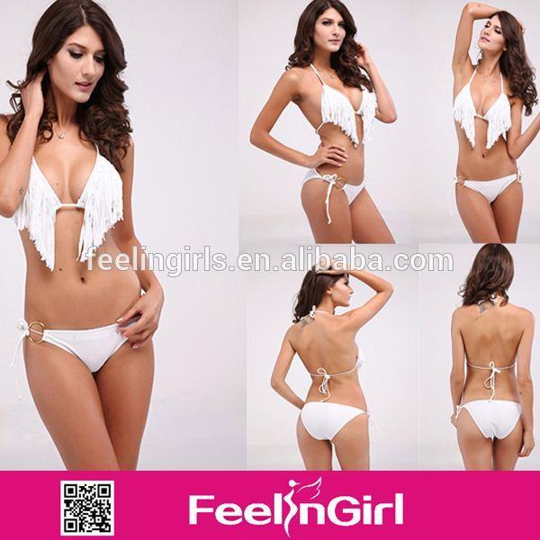 sexy whelesale baratos borla blanca abierto los diseñadores tazas de bikinis