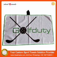 Idealmade Factory Promotion Cheap Soft Branded Microfiber Golf Towel With Eyelet Grommet
