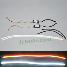 DC12V-24V Universal white yellow flexible 600mm led drl with turning light function