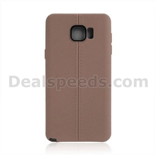 Double Line Leather Texture TPU Case for Samsung Galaxy Note 5 N9200 Brown