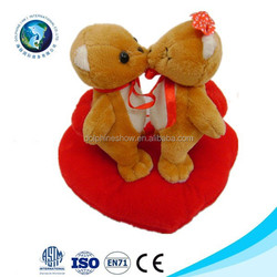 Wedding and valentine's day plush toy couple of bears with heart cushion