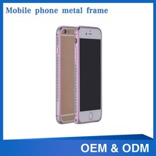 high quality 4.7 inch dual gold edge crystal stone mobile phone cover