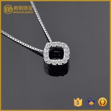 statement square cz diamond pendant wholesale fashion jewelry fashionable necklace jewellery 925 sterling silver gold plated