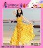 Fashion Sexy Girl Beach Printed Dress V Collar High Quality Chiffon Material Latest Casual Dress Patterns
