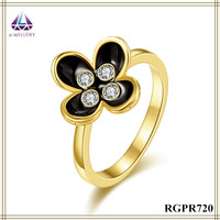 China Jewelry Wholesale Gold Plated Flower Shape Zircon Ring