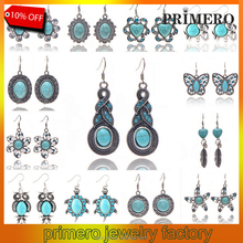 PRIMERO Oval More style Turquoise Dangle Earrings Charm Crystal Ancient Tibetan Earrings for Women Fine Jewelry Summer Style