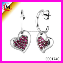 Sterling Silver Heart Earring Of AAA For Girls