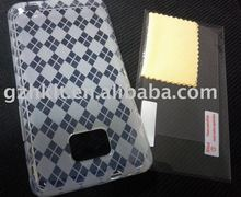 Clear Screen Protector( without retail package) & Mobile phone case TPU Skin Soft Gel case for Samsung i9100 Galaxy S2