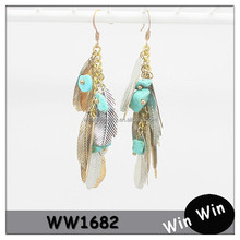 Metal feather shaped charm dangle earring with green stone