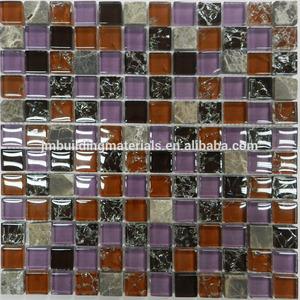hợp màu sắc băng crackle tinh thể thủy tinh kết hợp đá khảm ngói