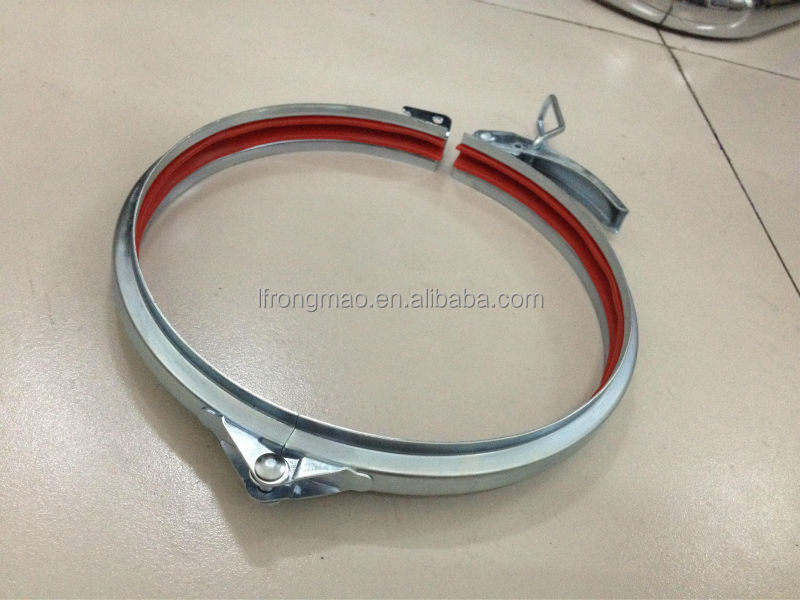Ventilation duct clamps with red rubber quick lock