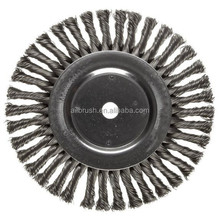 "Wire Wheel Brush, Round Hole, Steel, Full Twist Knotted, 8"" Diameter"