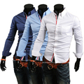 2015 nova cor sólida homens fashion designer camisas mens casual slim fit camisas longas da luva lote de ações