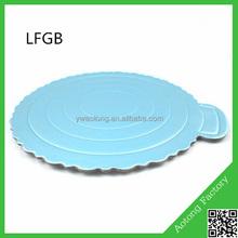 yiwu paper cake board with handlebar 8inch silver cake plate blue cake tray
