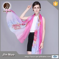 JINNUO new scarf summer pashmina women's scarf long shawl printed cape silk chiffon tippet muffler Scarves