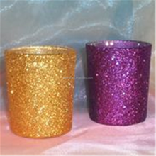 Gold Glitter Glass Wedding Romantic Votive Candle Holder With Embroidery