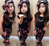 wholesale baby girls clothing black tops vest printed floral pants hairband set 3 piece 2-8T baby girl clothing boutique set