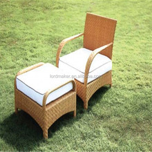 Comfortable rattan chair garden sun lounger with footrest