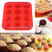 12 cavity mini silicone cake bread baking muffin mold / non stick silicone bakeware round silicone muffin mold