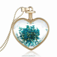 Free samples real flower design new products 2016,heart shaped dried flower jewellery necklace for women YH0021