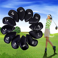 12 Pu Universal Golf Club Head Cover Waterproof Black Leather Protective Sleeve Black Golf Club Sport Iron Head Covers HeadCover