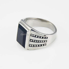 High Polish Quality Unique Jewelry Black Stone Man Rings Fashion Stainless Steel Jewelry ring