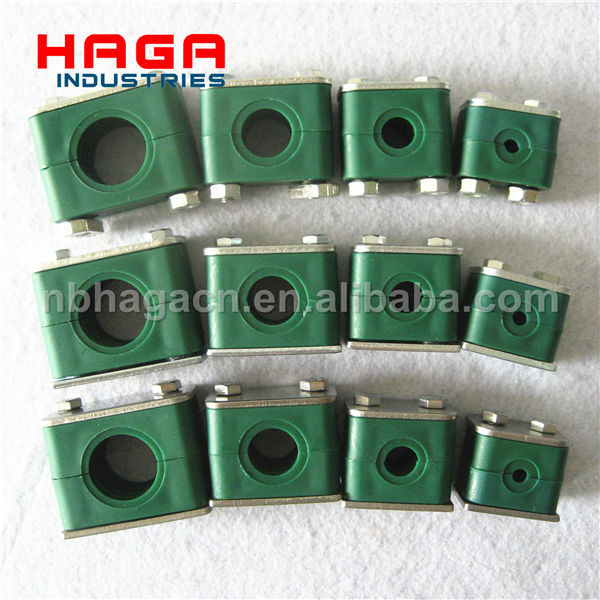 Hydraulic tube clamp heavy duty double plastic pipe