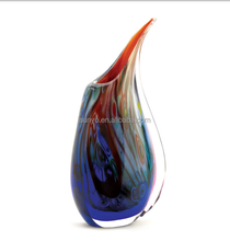 Leadfree customized size slant mouth small glass vase purple different solid color factory model
