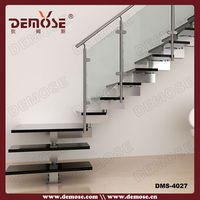 fashion interior stainless steel wood stair design