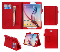 New release PU Leather Case Smart Cover with Card Slots, Pocket, Elastic Hand Strap and Stylus Holder for Samsung Tab S SM-T710