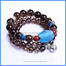 Wholesale Two In One Multiple Strands 925 Sterling Silver Charm Jewelry Natural Smoky Quartz Crystal Bracelets GSB-J006