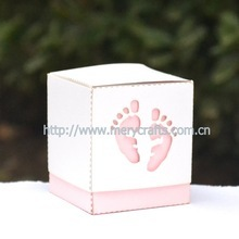 "2014 Latest Party Favors And Gifts! ""Baby Feet"" Decorations For Baby Shower Favor Box With Free Ribbon"
