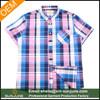 2015 summer high quality gingham big check short sleeves shirt