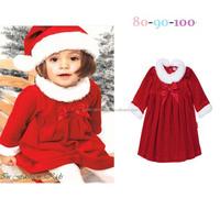 Children's wear wholesale K7647 girl christmas dress +hat 2 pieces/set