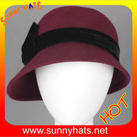2013 winter wool felt caps with satin bow for ladies