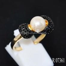 Elegance Antique Black Diamond Latest pearl ring design for girls