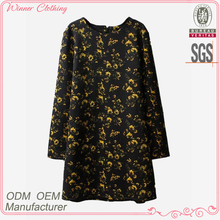 High fashion printed women's clothing garment apparel direct factory OEM/ODM manufacturing straight fit designer one piece dress