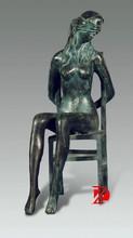 Metal figure sculpture bronze sitting woman tied statue outdoor decoration