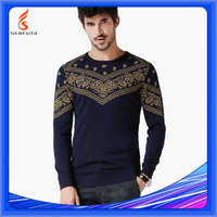 Computer Knitted Autumn Jaquard Pullover Men Sweater Korean 2015