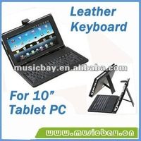 "leather case Host USB2.0 Keyboard for 10"" tablet PC english,spanish,french"