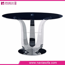 Dining room furniture cheap stainless steel base round glass top modern glass dining table set
