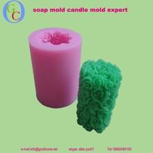 Fábrica venta al por mayor 3D rosa molde de la vela vela del cilindro de molde de silicona del molde para el arte de la vela