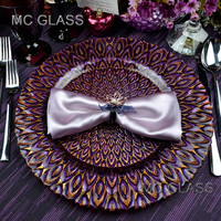 Wholesale Elegant China Wedding and Rental Purple Peacock Glass Decoration Charger Plate