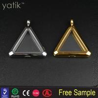 Antiqued Silver Tone Vintage Alloy Triangle Photo Frame Pendant Charms 10PCS Wholesale